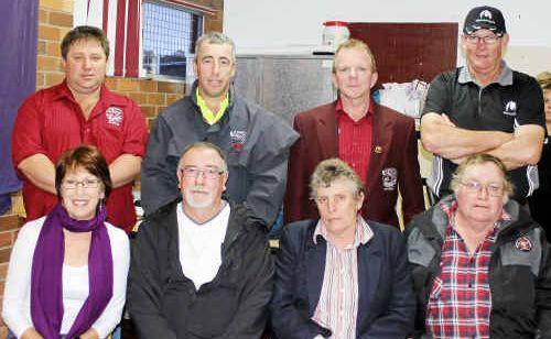 Above, Suburbs Junior Rugby League Club life members (back, from left) Charlie Thorne, Brendan Cussen, Paul Roche, John Bradfield, (front) Judy Nielsen, Ian Morton, Yvonne Baguley and Arthur Baguley.