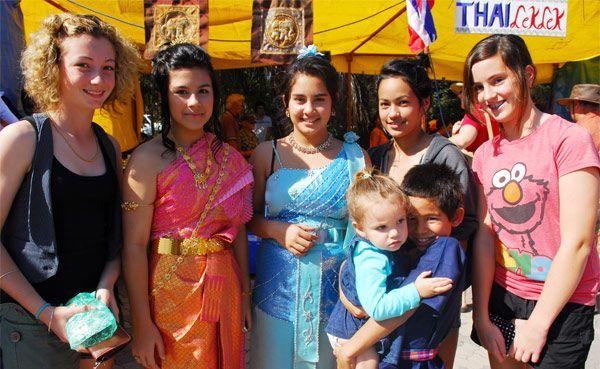 Taylah Crosby, 13, Wanalee Hayman, 13, Maegan Bunyen, 13, Lakisha Denniss, 13, Rachel Donovan, 13, Jacob Bunyen, 13, & Neveah Willaims, 2, enjoying the perfect day at the Gladstone Multicultural Festival 2010.