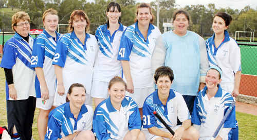 The Saints hockey team of (front, from left) Sharon Hemmings, Benita Tyler, Toni Cox, Rachelle King, (back) Tammy Zwoerner, Bianca Fitch, Rebecca King, Allyne Waters, Megan Neal, Kerri Fitch and Bec Freebody. Jodie Olsen is not in photo.