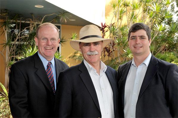 ALP candidate for Fisher Chris Cummins, Regional Health Minister Warren Snowden and Candidate for Fairfax Dan McIntyre.