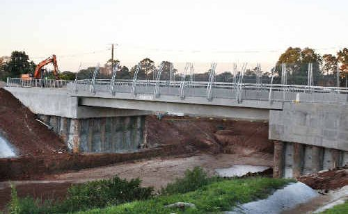 The nearly completed Wardell Road overpass on the Alstonville bypass.