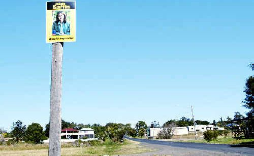This Janelle Saffin election poster was spotted on the side of Dunoon Road, near Lismore Showgrounds.
