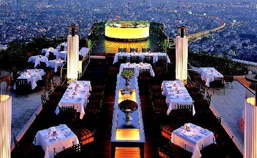 Views from Sky Bar on the 63rd floor of Lebua at State Tower in Bangrak, Bangkok.