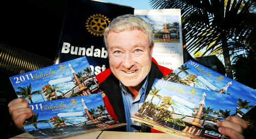 Bundaberg East Rotary Club president Ian Rowan is excited about the release of the new 2011 Bundaberg and district calendar. Photo: Max Fleet ber0308b