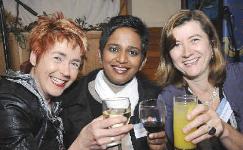 Current festival director Jeni Caffin (left), author Shamini Flint from Singapore, and the new director Candida Baker at last night's launch at the Byron Bay Surf Club.