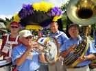 Michael Rochford, Ian Denovan, Greg Garrett and Richard Stevens in last year's Noosa Jazz Festival street parade.