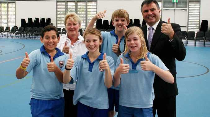 Thumb up for the official opening of the multi-purpose hall at Cannonvale State School. Back: School principal Leigh Robinson, vice-captain Jonty Hinschen and Federal Member for Dawson James Bidgood. Front: Captains Mohanad Abd El-Baky and Isabel Jukes with vice-captain Rhylee Goodwin.