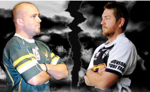 Hawks captain Dan Taylor (left) ready to do battle Magpies captain Ryan Walker.