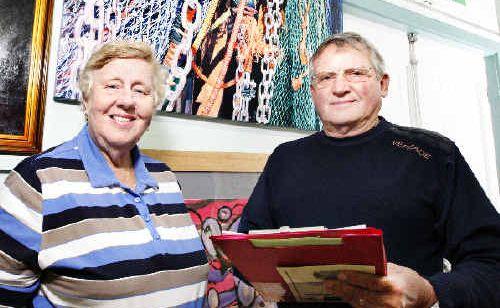 Art Prize co-ordinator Helen Trustum with judge David Mackay Harrison with the winning entry, Fishing Nets, behind them.