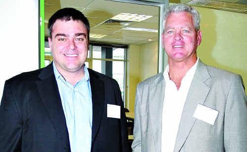 Managing director of Global Village Maroochydore, Ian Pratt, left, and Sunshine Coast Regional Councillor Lew Brennan, who holds the Economic Development portfolio.