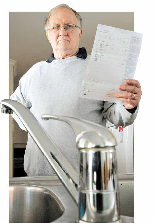 Barry McLean is furious about the latest water bill his 99-year-old mother received claiming her average daily usage is five times greater than the last quarter.