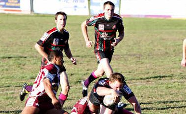 Try time: Nambour prop Chris Howell reaches out to score against Kawana at Crusher Park.