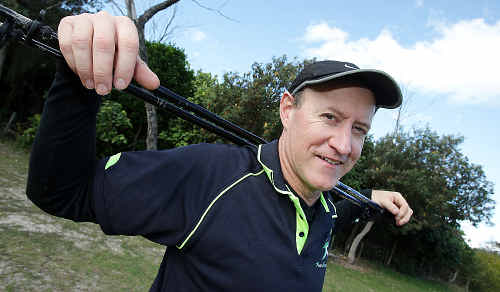Waling wonder: Pole walker Mike Gates has set a new world record in aid of Kids in Need.