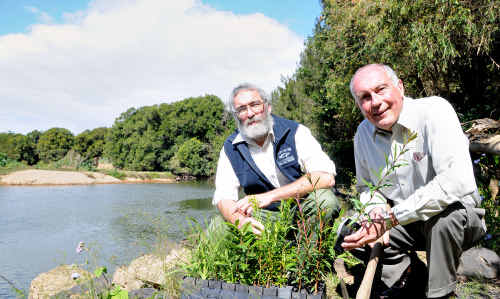 Steve Burgess and Warren Truss at Traveston Crossing where the Mary River Catchment Co-ordinating Committee's plantings revitalised bare banks in 2001.