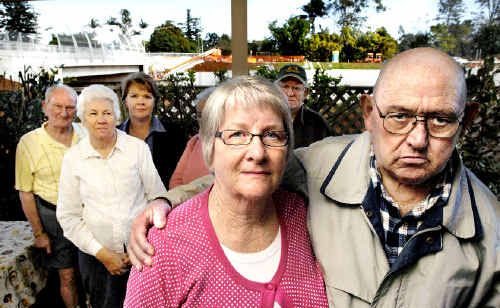 Glen Royal Gardens Village complex residents unhappy about the height of the new Wardell Road bridge over the Alstonville bypass are June and Robert Perry (front) with neighbours (rear, from left) Len Whittaker, June Williams, Denise Weir, Robyn Bishop and Jim Willis.