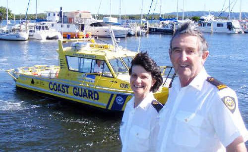 Ballina coast guard volunteers Bill and Jo Blundell and skipper Duncan Woodhead, in the coast guard's rescue boat, last week launched the Ballina Boat and Leisure Show to be held in October.