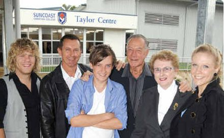 Standing tall at the opening of the Taylor Centre are family members (from left) Mitchell Davie, Ken Sherwell, Kallan Taylor, Bob and Fran Sherwell and Ashleah Davie (nee Taylor).