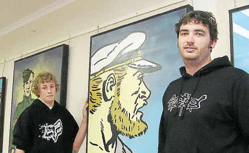 "Artists Josh Cleary (right) and Reece McGregor will be opening their second joint aerosol art exhibition ""5kgs"" in Boyne Island on Saturday."