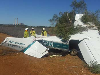 The first pictures of the Adrenaline Skydivers light aircraft which crashed at Golding Point into mangroves on Gladstone Ports Corporation land.