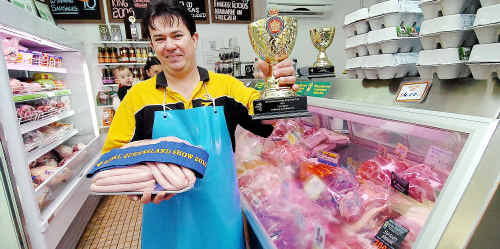 Zac's Meats' Stephen Austin with his top-placed pork sausages.