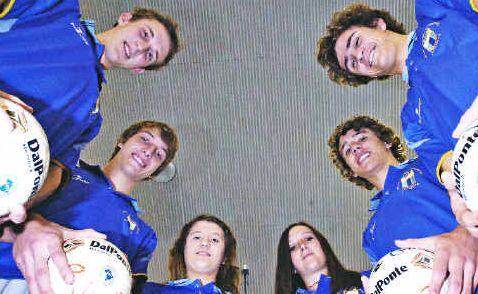 Round the world: Lismore Futsal players Damien Parker (20), Nick Baker (19), Kristy McCann (16), Shelby Parker (16), Elliott Black (16) and Jack Pearce (16) have the chance to learn more about the game and play in Brazil.