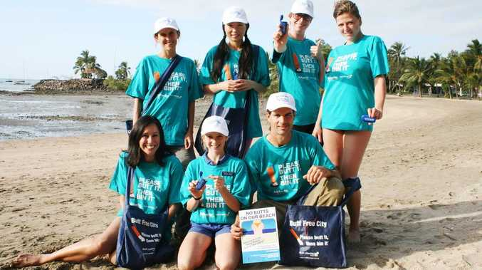 The 'No Butts on the Beach' campaign will be launched this Sunday at Airlie Beach. Getting a head start on Monday were back, Theresa Fischer, Mia Zhou, Kelly Demaertelaere, Lieselot Vanrooose. Front: Suzy Gordon, Isabel and Paul Jukes.