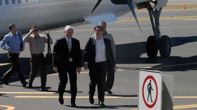 Former prime minister Kevin Rudd arrives in Gladstone.