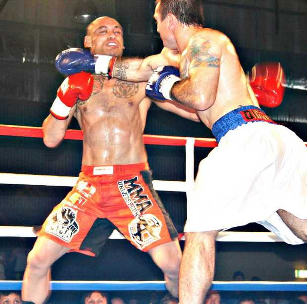 "At Whitsunday Fight Night II held in May this year, the fight between Whitsunday resident Ngakau ""Volcano"" Spain (red) and his opponent Shannon ""F-16"" Forrester sent the crowd into a frenzy."