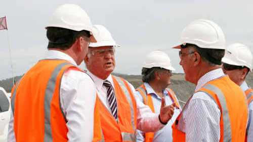 COAL FACTS: Brian Flannery with visiting Nationals Barnaby Joyce and Warren Truss at Minerva mine. cont