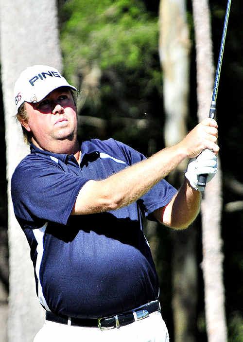 Sunshine Coast golfer Adam Le Vesconte tees off at the Noosa Par 3 Pro-Am.