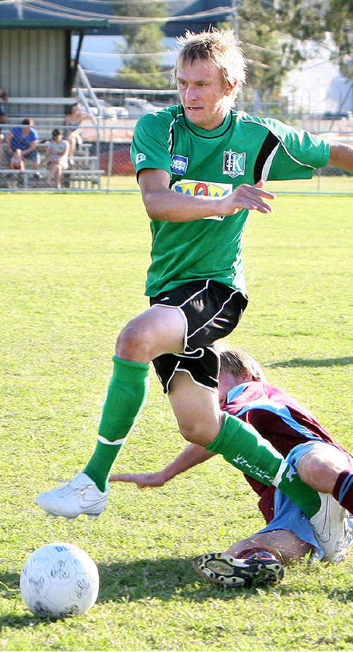 Hard-working Knights defender Nick Parfitt was one of his team's best players in Saturday night's 2-0 win over Rocklea.