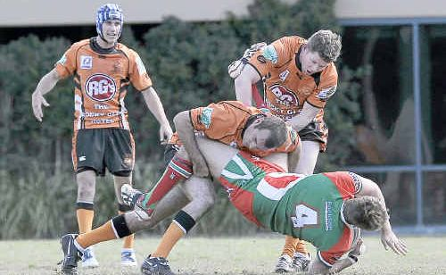 William Button takes a good tackle from the Wallabys at the reserve grade Tannum Seagulls versus Wallabys game at Marley Brown Oval, Gladstone.