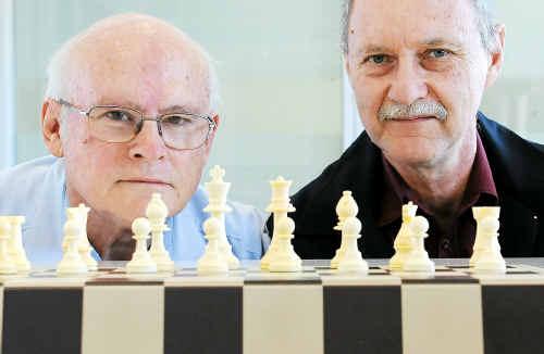 Allan Menham and John Harris of the Bundaberg Chess Club.