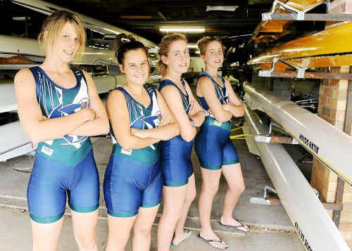 Four of the St Luke's rowing stars are Mel Schmeider, Sarah Dimes, Emma Pressler-McHugh and Demi Pressler-McHugh.