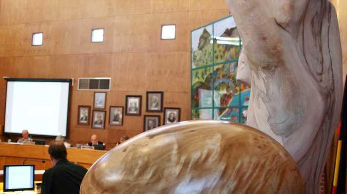Camphor laurel sculptures on display at last week's Byron Council meeting.