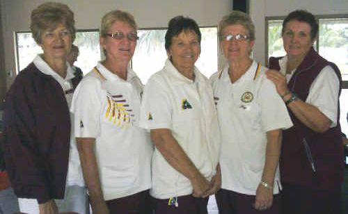G. Witt, chairman Bundaberg/Port Curtis district Ladies Bowls Association, BITS Ladies winners: K. Thomas, C. Elley, F. Watson, B. Quinn.