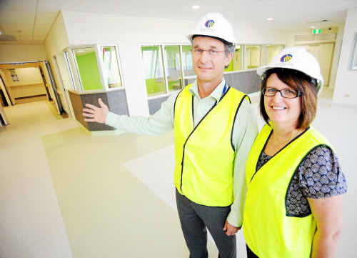 Manager for Health Planning and Infrastructure Peter Heath and manager for the Northern Cluster Beth Norton present the new Emergency Department at the Bundaberg Hospital.