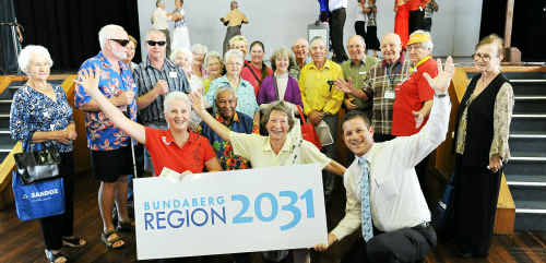 Pauline Langford, Verlie Climpson and Cr David Batt celebrate at the Seniors Expo at the Civic Centre yesterday.