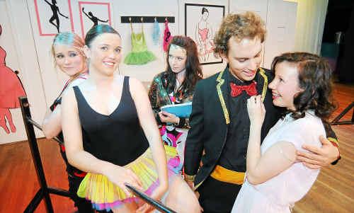 Bundaberg North State High School students Katherine Lawn, Chauntelle Major, Heather McInherney, Zachary McInherney and Hannah Robinson prepare to perform in Dance Hall Daze.
