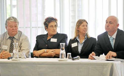 CANDIDATES BENCH: LNP endorsed candidate Ken O'Dowd, Family First's Di Hancock-Mills, Green's Anne Goddard and Labor's Chris Trevor at GAPDL's Meet the Candidate forum yesterday.