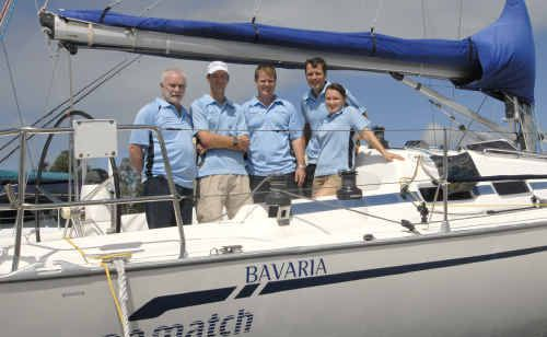 GREAT SAILING: Jon and Jeanine Drummond, far right, finished third in the Super 30's division in the Airlie Beach Race Week.