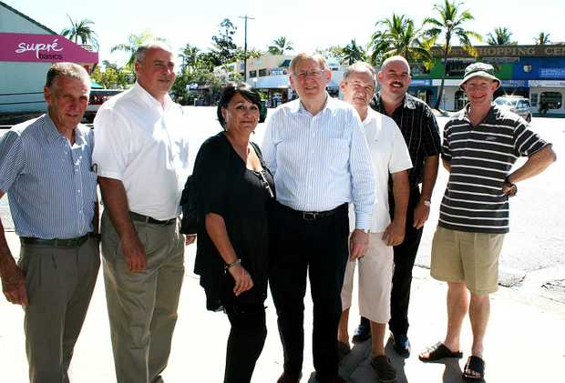 Discussing the future of the Airlie Beach main street on Sunday were Rogin Taylor, Rob Addis, Lyn Gregson, Federal Minister for Tourism Martin Ferguson, Chris Jacobs, Labor Candidate for Dawson Mike Brunker and Peter O'Reilly.
