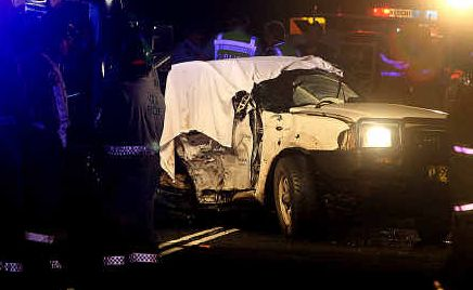 Horrific: The scene of Thursday night's fatal crash.