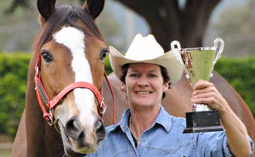 Gympie jockey Desiree Gill with Nevada Gambler ahead of today's 2010 Nolan Meats Muster Cup at the Gympie racecourse. Nevada Gambler, to be ridden by Cassie Priest, is hoping to make it two Muster Cup wins in a row after taking out the race last year.