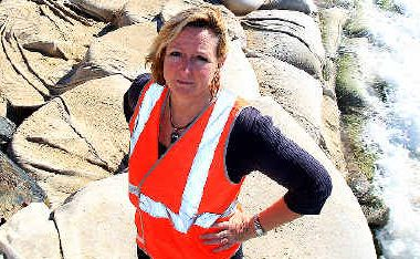 Erosion disaster: Council officer Jane Lofthouse at Kingscliff Beach.