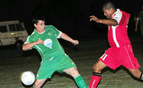 Clinton's Gerry Keenan and Edwin Jones in action during the Division 1 match on Saturday.