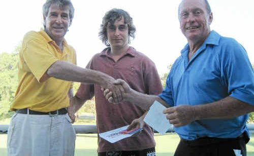 "Col ""Dollar"" Smith is congratulated on winning Tuesday's Mt Coolum Host Day and Wednesday's A Grade single stableford."