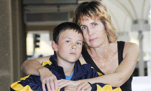 Mum's anguish: Jodie Swain and her son James, who Jodie says was being bullied at the Ballina Public School.