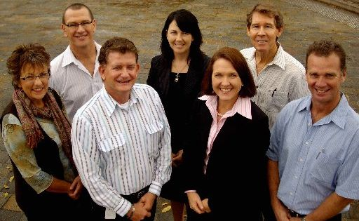 Nambour Alliance  board members (from back left) Libby Ozinga, Brendan O'Reilly, Gina Van Wezel, Peter Clark, Greg Biggs and (front) Cr Paul Tatton and Simone Pearce.