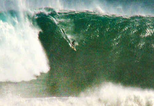 Mark Visser surfs a monster at Punta de Lobos in Chile.